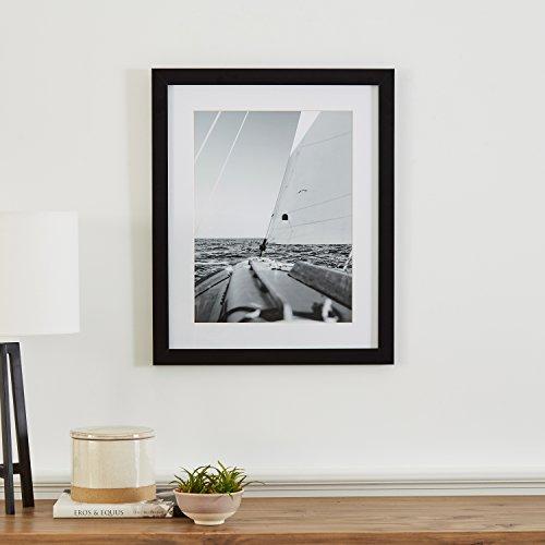 "Modern Black and White Sailboat at Sea Photo, Black Frame, 18"" x 22"""