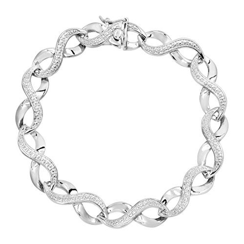Infinity Link Chain Bracelet with Diamond in Sterling Silver-Plated Brass