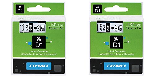 DYMO 45013 Standard D1 Labeling Tape for LabelManager Label Makers, Black Print On White Tape, 1/2'' W x 23' L, Pack of 2 (Smart Cartridge Print 5500)