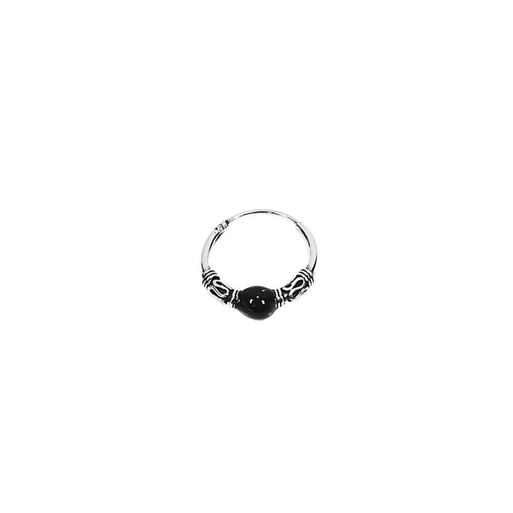 nklaus Paire de 925/argent sterling celtique Bali Cr/éoles avec boule noire 15/mm 7071