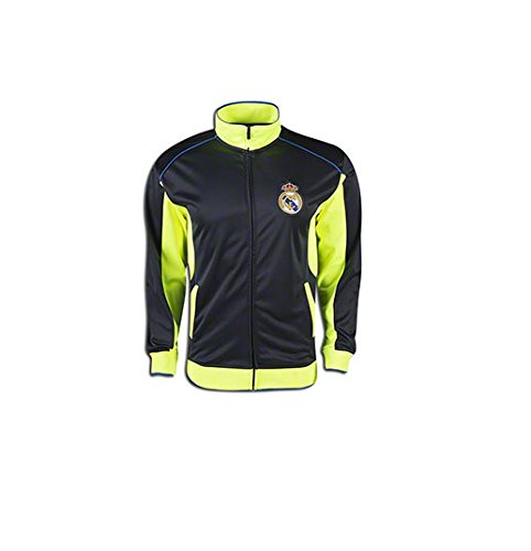 Jersey Officials Soccer Adult - Real Madrid Jacket Track Soccer Adult Sizes Soccer Football Official Merchandise (GREY- BLUE, L)