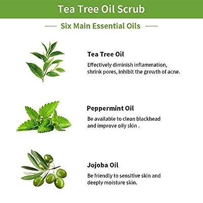 Natural Tea Tree Oil Body Foot Scrub Anti Fungal Soft?Scrub Made With 100% Pure Tea Tree Oil And Dead Sea Salt Fight Acne,Warts,Corns Better for Body Odor,Athlete foot,Jock Itch,Callus Treatment