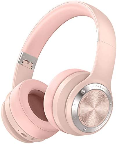 Picun B21 Wireless Headphones Over Ear 110H Playtime Touch Control Bluetooth HeadphonesMic USB-C Charging Foldable Stereo Bluetooth 5.0 Headset for Phone Support Wired/Wireless/TF (Rose Pink)