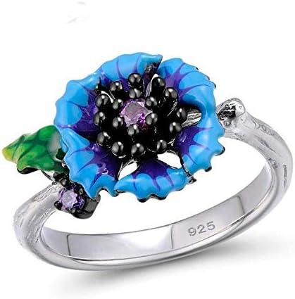 XCWXM Ringe Ringe Für Silber Ring Für Frauen 925 Sterling Silber Fantastic Blue Daisy Flower Floral Ring Modeschmuck Handmade Emaille