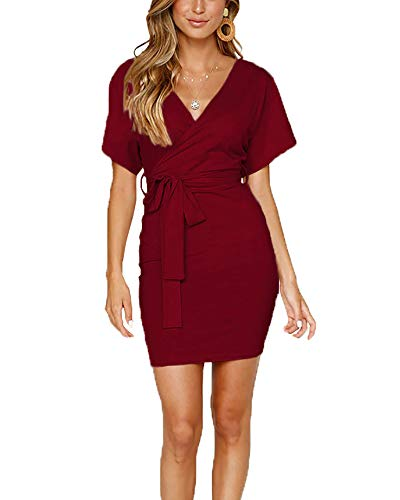 Miguofan Women's Casual V Neck Wrap Short Sleeve Pencil Bodycon T Shirt Mini Dress with Belt ()