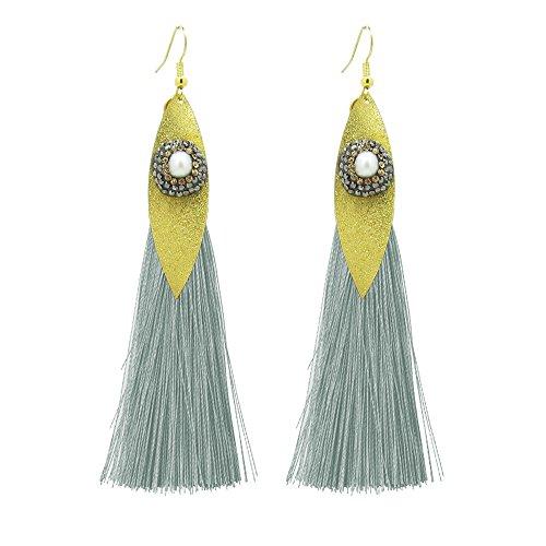 Bohemian Handmade Statement Tassel Earrings for Women Vintage shell pearl Long Drop Earrings Wedding Party Bridal Fringed Jewelry Gift (Grey)