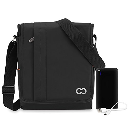 11 Inch MacBook Air / 12 Inch MacBook CaseCrown Poly North Messenger Bag (Black) Power Bank 10000mAh & Micro USB Cable