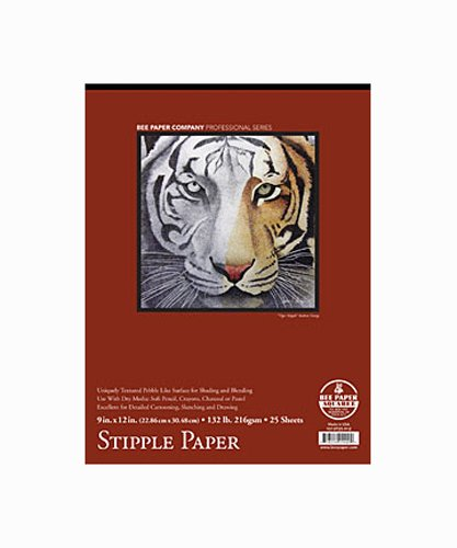 Bee Paper Coquille Fine Stipple Paper Pad, 9 X 12 inches, 130 lb. 25 Sheets (BEE-1013T25-912) by Bee Paper