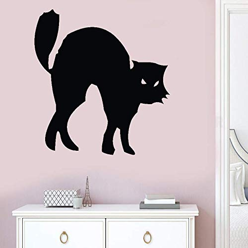 Wall Art Decal Sticker Words Wall Saying Words Removable Mural Hissing Black Cat for Halloween Day -