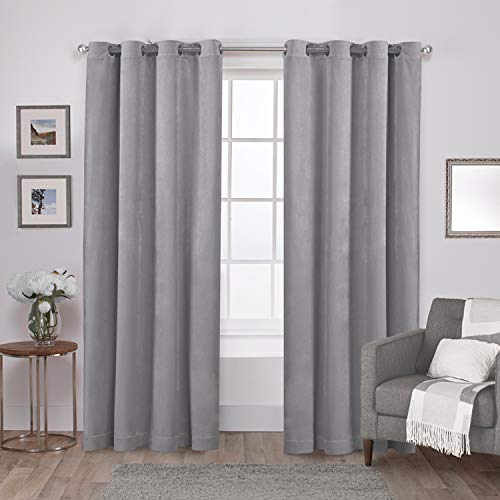 (Exclusive Home Curtains Velvet Heavyweight Window Curtain Panel Pair with Grommet Top, 54x84, Silver, 2 Piece )
