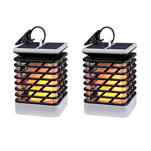 Espier Solar Lights Outdoor LED Flickering Flame Torch Lights Solar Powered Lantern Hanging Decorative Atmosphere Lamp for Pathway Garden Deck Christmas Holiday Party Waterproof Auto On/Off(2 pack)