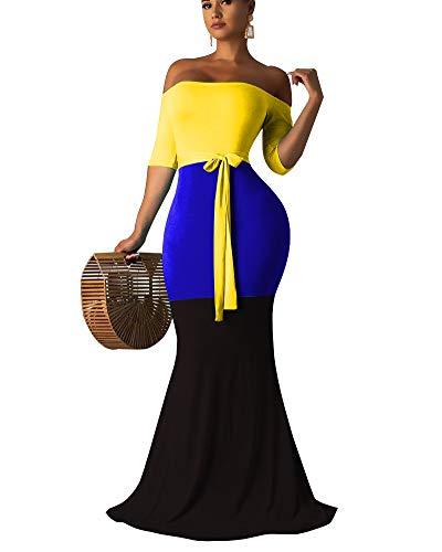 OLUOLIN Maxi Dresses for Women Bodycon Off The Shoulder Triple Color Block Long -