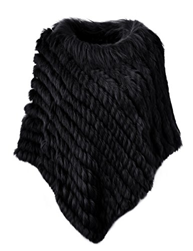Knitted Rabbit (Ferand Women's Winter Elegant Knitted Rabbit Fur Poncho Cape With Warm Raccoon Fur Collar With Asymmetrical Hem, One Size, Black)