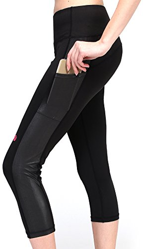 MYoga Women's Yoga Pants Workout Capri Leggings Running Tights w Side Pocket (M, Black)