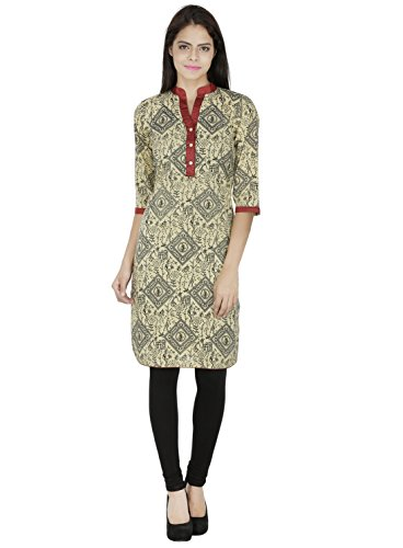 Pinkshink Beige Cotton Hand Printed Kurta / Kurti Indian Tunic Blouse - Pakistani Models Images