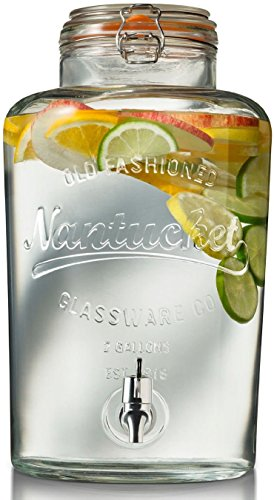 Nantucket Natural Oils - Circleware Nantucket Glass Beverage Drink Dispenser with Hermetic Locking Lid, 2 gallon, Clear