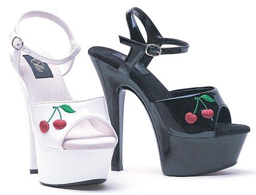 Ellie Sko E-601-kirsebær 6 Hæl Sandal Med Brodert Kirsebær. Hvit