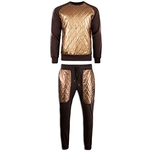 NEW Men Sweat Suit Brown Quilted Gold Crewneck Joggers Sw...