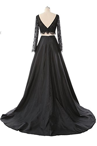 MACloth Women 2 Piece Long Sleeve Lace Maxi Prom Dress 2017 Formal Evening Gown Verde Oscuro