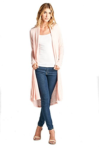 - ReneeC. Women's Long Sleeve Open Front Draped Knit Cardigan - Made in USA (Small, Pink)