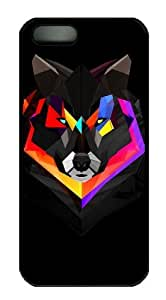 iPhone 5S Case and Cover -wolf polygon art PC case Cover for iPhone 5 and iPhone 5s ¡§CBlack