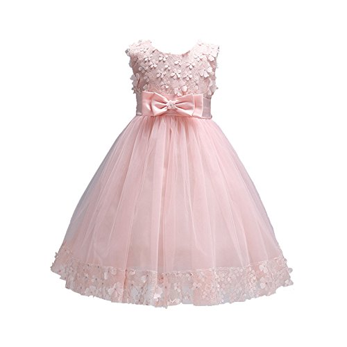 Weileenice 1-14 Years Big/Little Girl Flower Lace A-line Party Dresses Pink