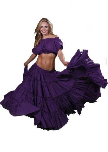 Mujer Falda De Púrpura Yardas Traje Dance Vientre Superior Para Danza Romany Y Miss Belly Del 25 Raqs pZwXXg