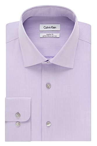Classic Non Iron Shirt - Calvin Klein Men's Regular Fit Non Iron Herringbone Spread Collar Dress Shirt, Lilac, 15.5