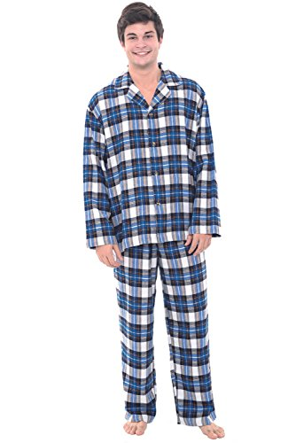 Alexander Del Rossa Mens Flannel Pajamas, Long Cotton Pj Set, 3X Classic Blue Plaid (A0544Q333X)