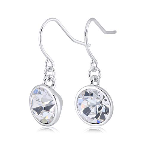UPSERA Clear Crystal Drop Dangle Earrings for Women Girls Crystals from Swarovski Silver Tone Plated Earrings Jewelry