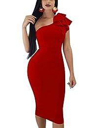 Womens Sexy Ruffle One Shoulder Sleeveless Bodycon Party Club Midi Dress