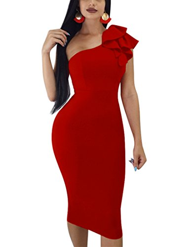 Mokoru Women's Sexy Ruffle One Shoulder Sleeveless Bodycon Party Club Midi Dress, Small, Red - One Shoulder Dress