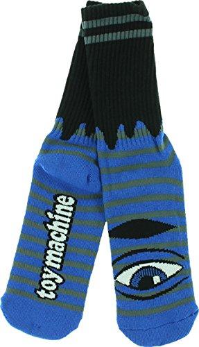 Toy Machine Sect Eye Stripe Blue / Grey / Black Crew Socks (Toy Machine Sect Eye Socks)