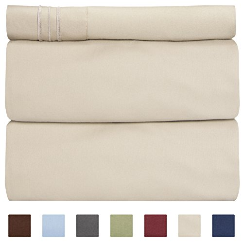 CGK Unlimited Twin Size Sheet Set - 3 Piece Set - Hotel Luxury Bed Sheets - Extra Soft - Deep Pockets - Easy Fit - Breathable & Cooling - Wrinkle Free - Comfy – Beige Tan Bed Sheets – Twins Sheets
