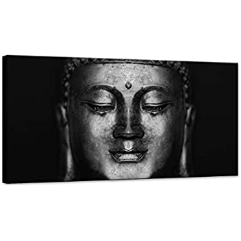 Canvas Wall Art Black and White Abstract Buddha Wall Art Head Paintings Pictures Artwork for Decor/Home Decoration Size:20x40inch 1pcs/Set