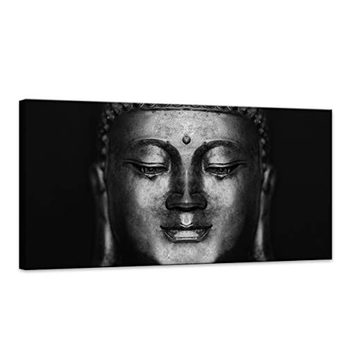 Wood Effect Buddha Head - Canvas Wall Art Black And White Abstract Buddha Head Paintings Pictures Artwork for Decor /Home Decoration size:20x40inch 1pcs/set