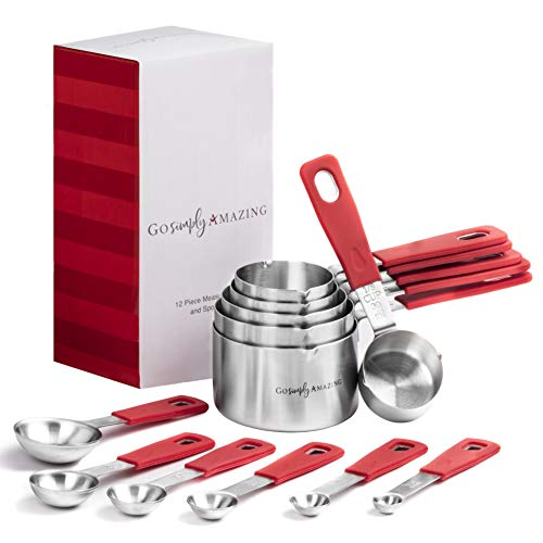(Measuring Cups and Spoons Set by Go Simply Amazing- 12 Piece Nesting Stainless Steel Measuring Set with RED Silicone Handles, Baking and Cooking Essentials for your Kitchen, Kitchen Utensils & Gadgets)