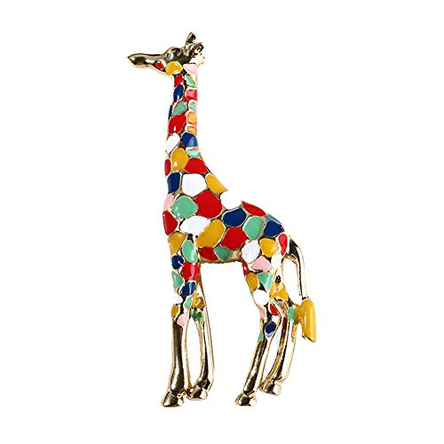 Guoainn Fashion Beautiful and Lovely Jewelry Giraffe Colorful Enamel Brooch Pin Collar Badge Clothes Jewelry Decor Colorful