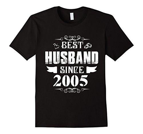 Mens Best Husband Since 2005 T-Shirt 13th Anniversary Gift Tee 2XL Black