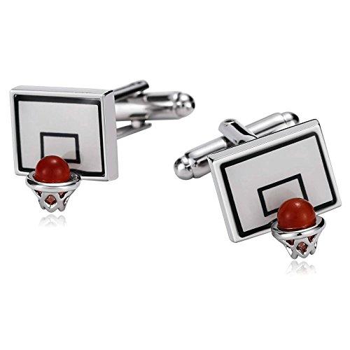- Epinki Men Stainless Steel Basketball Backboard and Hoop Sport White Cufflinks for Bussiness Wedding