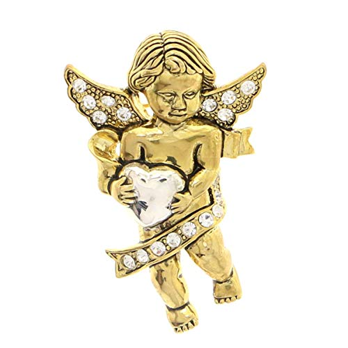 Mi Amore Cherub Brooch-Pin with Crystal Accents Gold-Tone Color #LQP1125 ()