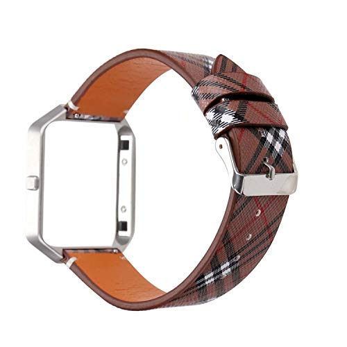 - Clatune Vintage Check Pattern Band and Metal Frame Housing, Plaid Leather Strap Classic Damier Wristband Compatible with Fitbit Blaze (Coffee Brown,Style 2)
