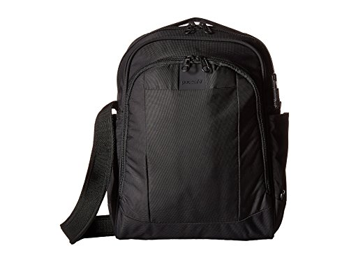 Pacsafe Metrosafe LS250 12 Liter Anti Theft Shoulder Bag - Fits 11 inch Laptop, Lightweight (1.46 lbs) with RFID Blocking Pocket and Lockable Zippers (Black)