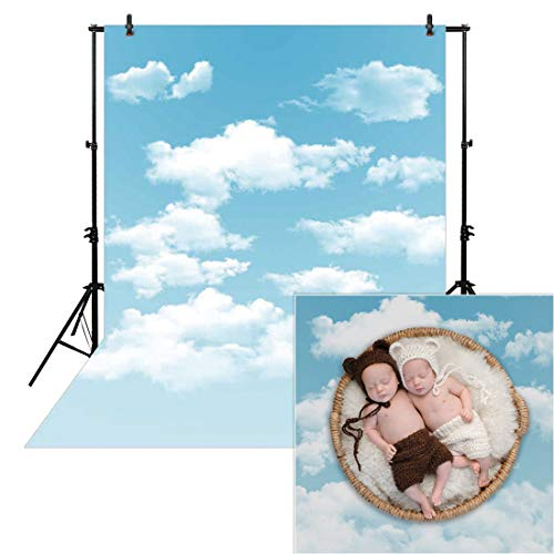Allenjoy 5x7ft Spring Photography Blue Sky Backdrop White Cloud Newborn Baby Children Kids Cartoon Background Polyester Props Photocall Photobooth Photo Studio ()