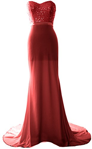 Strapless Prom Sequin Bridesmaid Burgunderrot Gorgeous Dress Long Jersey Mermaid Gown MACloth wHARZq7x