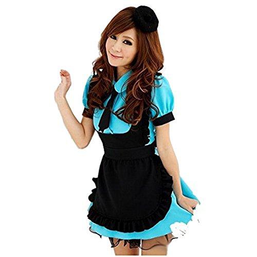 Marshel [Winter Sale] Kawaii & Lolita Dresses Cosplay Halloween & Christmas Japanese Traditional Maid Costume for Women Blue