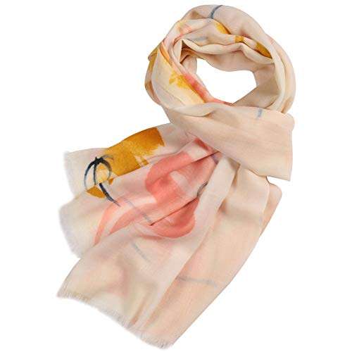 - WAMSOFT Wool Scarves Shawls, Women Large Comfy Luxurious Hand Painted Floral Solid Wool Pashmina Wrap Shawl Scarf(Blossom# Orange Red, One Size)