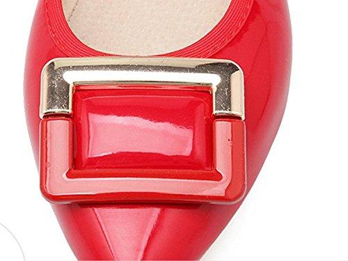 Ohmais Chaussure femme cérémonie Ballerines femme à bride Fête Demoiselle d'honneur Mariage Escarpin plat Rouge fx3yOASC