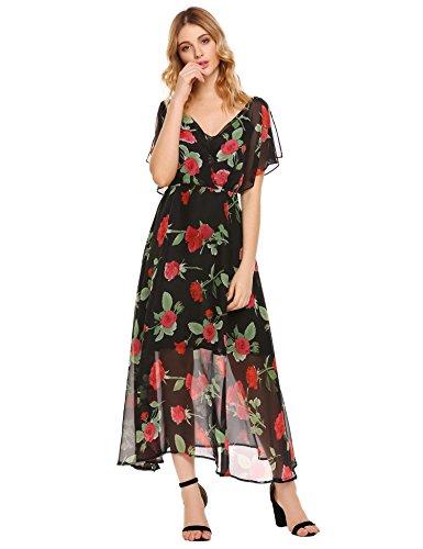 Women Floral Vintage Boho Prom Dress Black - 5