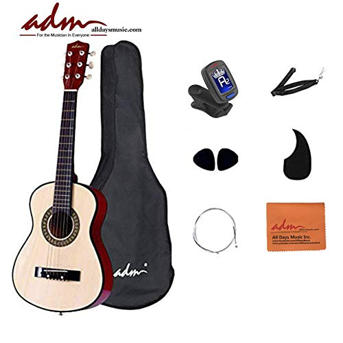 Acoustic Guitar, ADM 30 Inch Half Size Junior Acoustic Guitar Starer Kit with Carrying Bag, Picks, E-Tuner, Strap, Natural